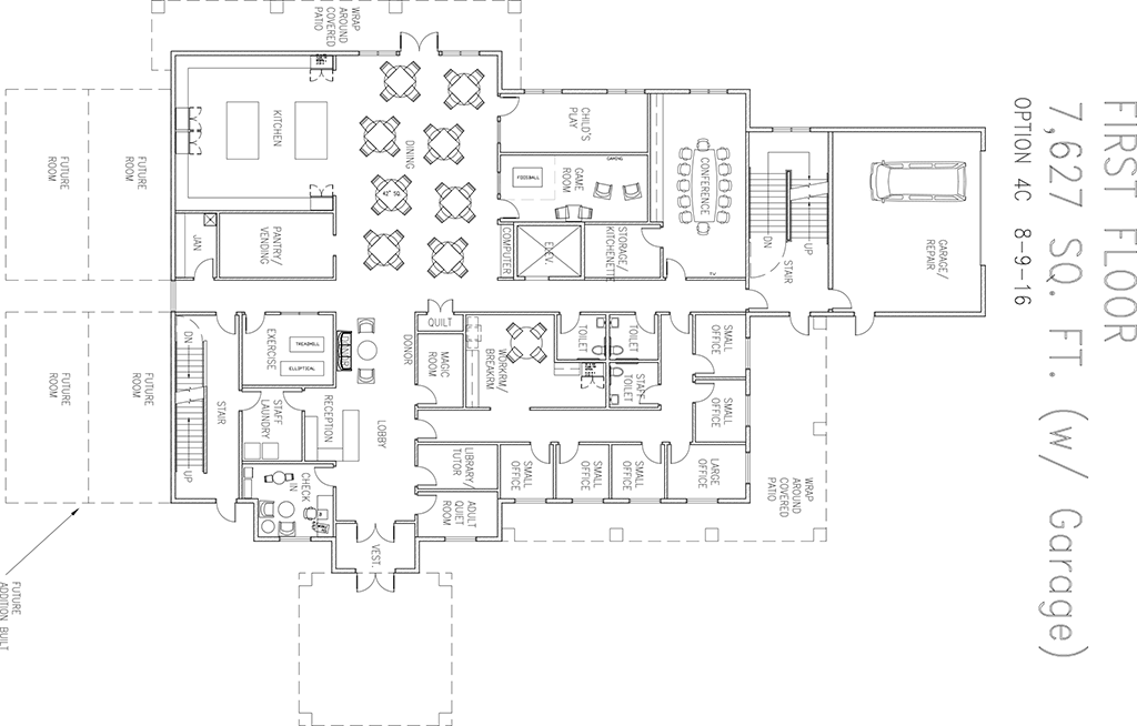 Blueprint drawing of the first floor of the new Ronald McDonald house