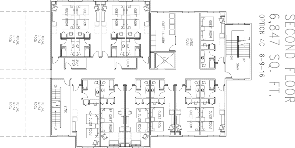 Blueprint drawing of the second floor of the new Ronald McDonald house