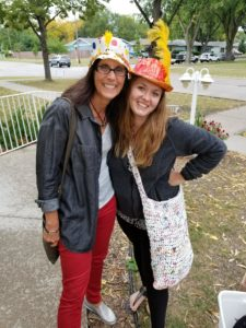 "Shelly & Shari standing outside with ""crazy"" hats on"