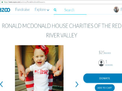 Screenshot of RMHC Razoo fundraiser