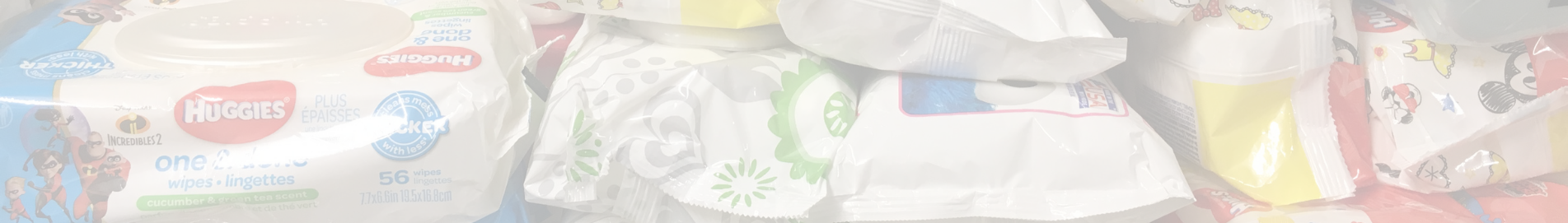 various brands of baby wipes in white packaging