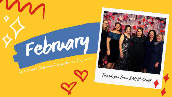 "Staff photo and text says ""February: Sweetheart Ball and Giving Hearts Day recap"""