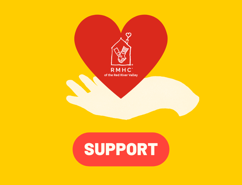 hand holding heart with RMHC logo and a support button
